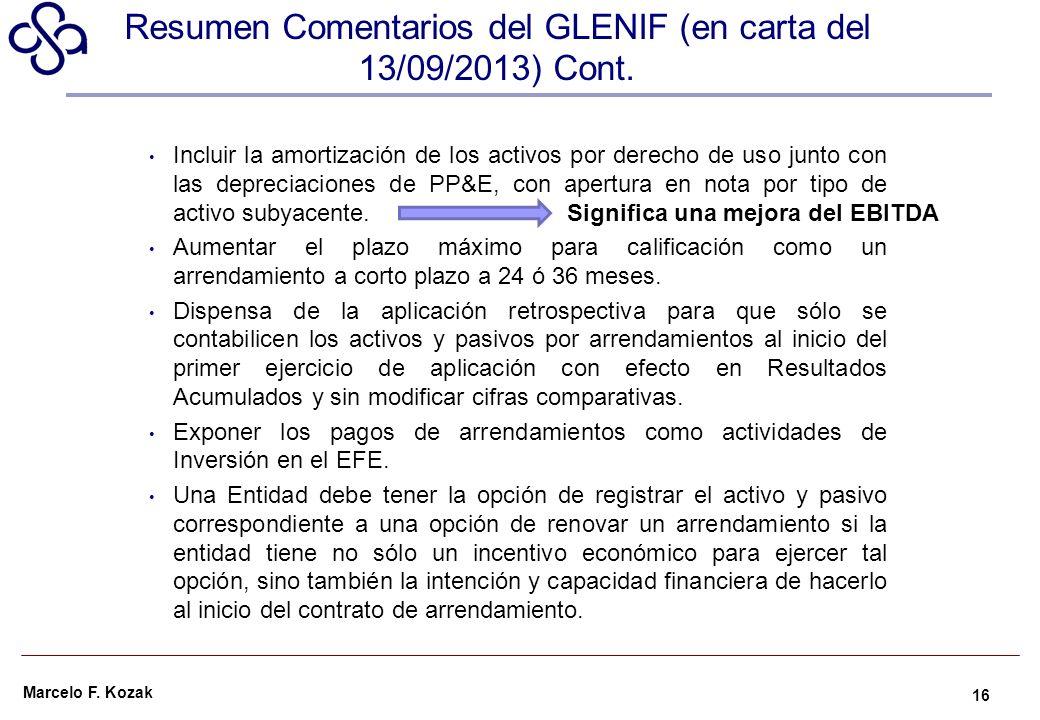 Marcelo F. Kozak Incluir la amortización de los activos por derecho de uso junto con las depreciaciones de PP&E, con apertura en nota por tipo de acti