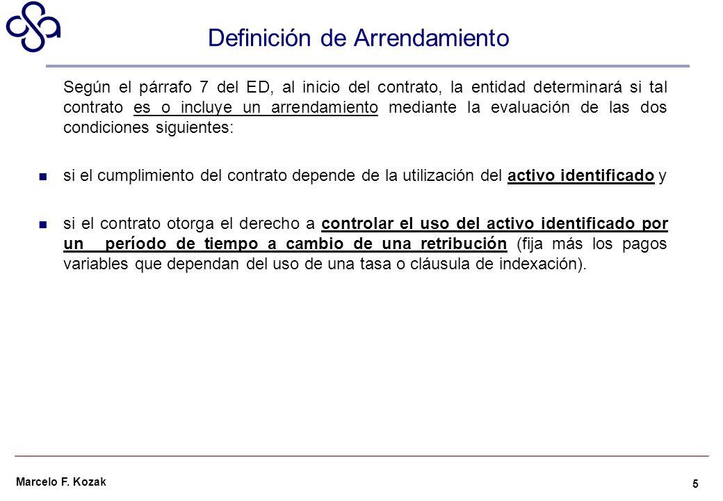 Marcelo F. Kozak Definición de Arrendamiento Según el párrafo 7 del ED, al inicio del contrato, la entidad determinará si tal contrato es o incluye un