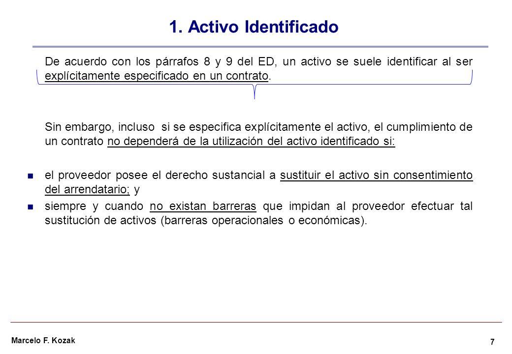Marcelo F. Kozak 1. Activo Identificado De acuerdo con los párrafos 8 y 9 del ED, un activo se suele identificar al ser explícitamente especificado en