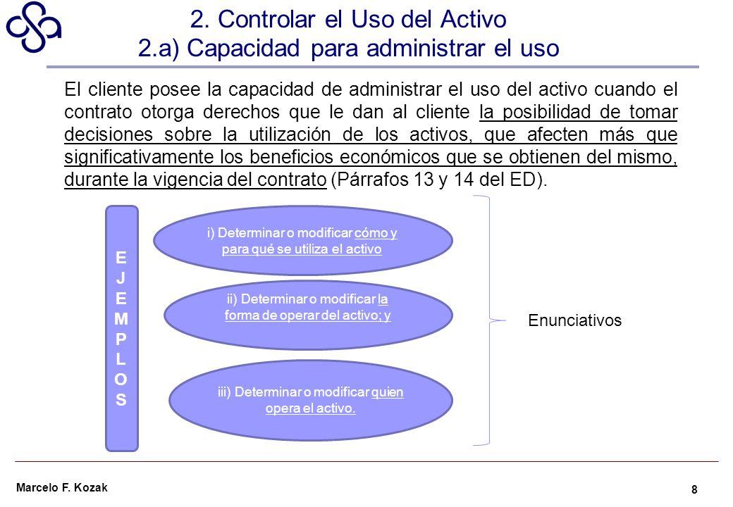 Marcelo F. Kozak El cliente posee la capacidad de administrar el uso del activo cuando el contrato otorga derechos que le dan al cliente la posibilida