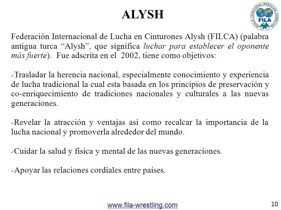 ALYSH Federación Internacional de Lucha en Cinturones Alysh (FILCA) (palabra antigua turca Alysh, que significa luchar para establecer el oponente más