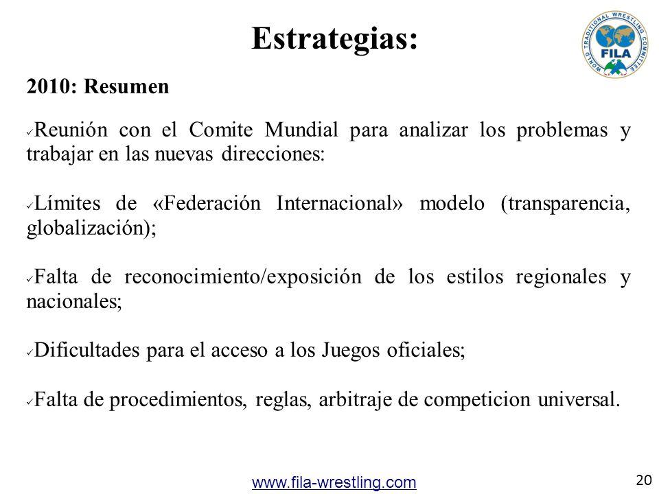 20 www.fila-wrestling.com Estrategias: 2010: Resumen Reunión con el Comite Mundial para analizar los problemas y trabajar en las nuevas direcciones: L