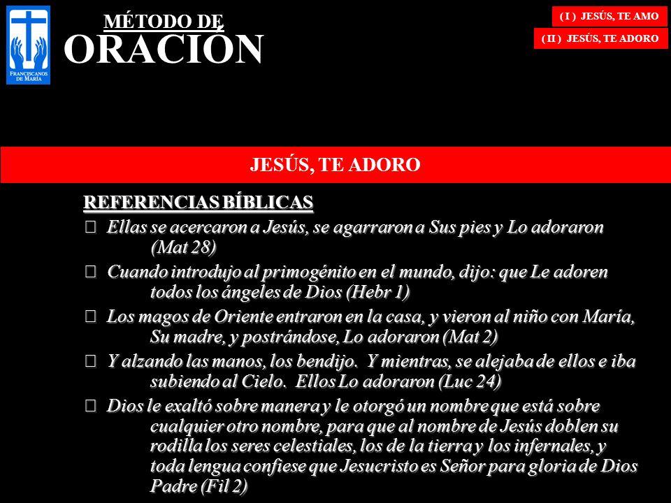 ( I ) JESÚS, TE AMO ( II ) JESÚS, TE ADORO JESÚS, TE ADORO REFERENCIAS BÍBLICAS € Ellas se acercaron a Jesús, se agarraron a Sus pies y Lo adoraron (M