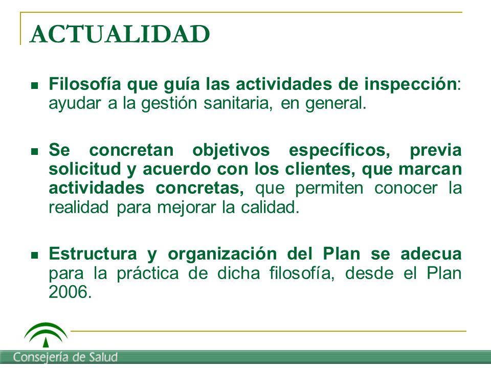 ACTUALIDAD Filosofía que guía las actividades de inspección: ayudar a la gestión sanitaria, en general. Se concretan objetivos específicos, previa sol