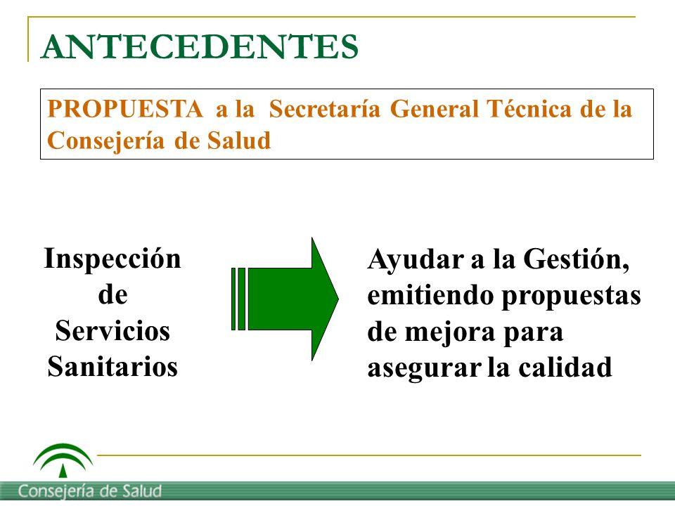 Inspección de Servicios Sanitarios Ayudar a la Gestión, emitiendo propuestas de mejora para asegurar la calidad PROPUESTA a la Secretaría General Técn