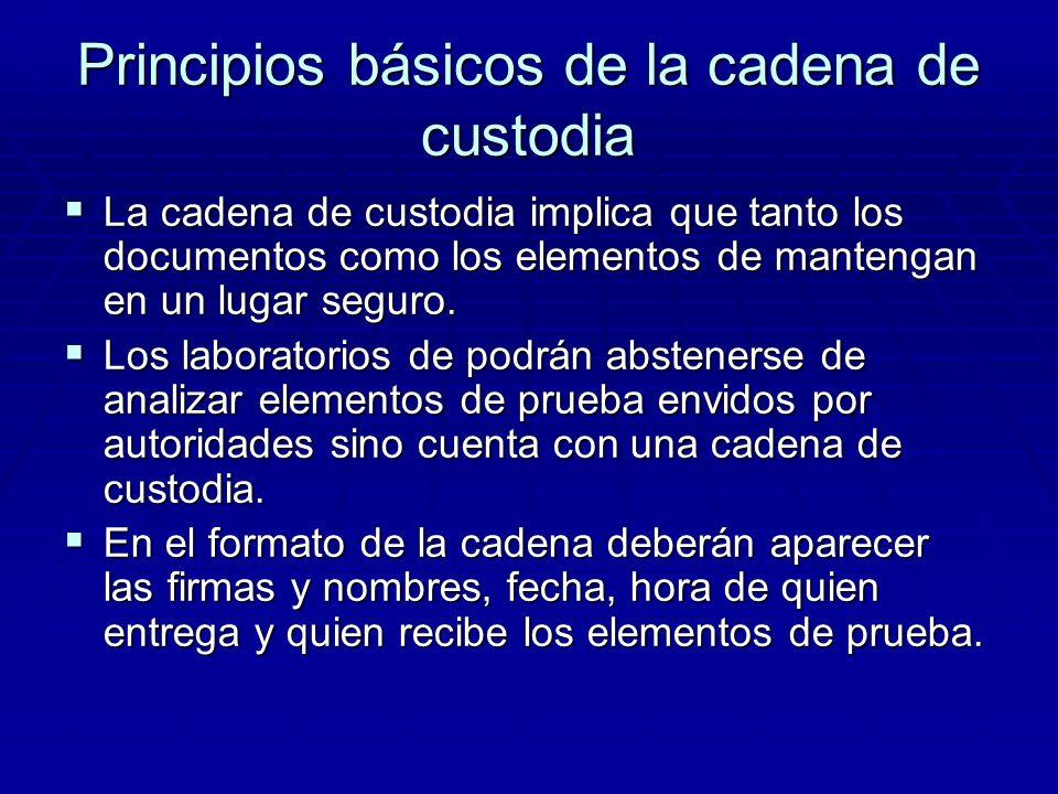 Principios básicos de la cadena de custodia Todos los elementos recolectados deberán se acompañados por la cadena de custodia a través del procedimien