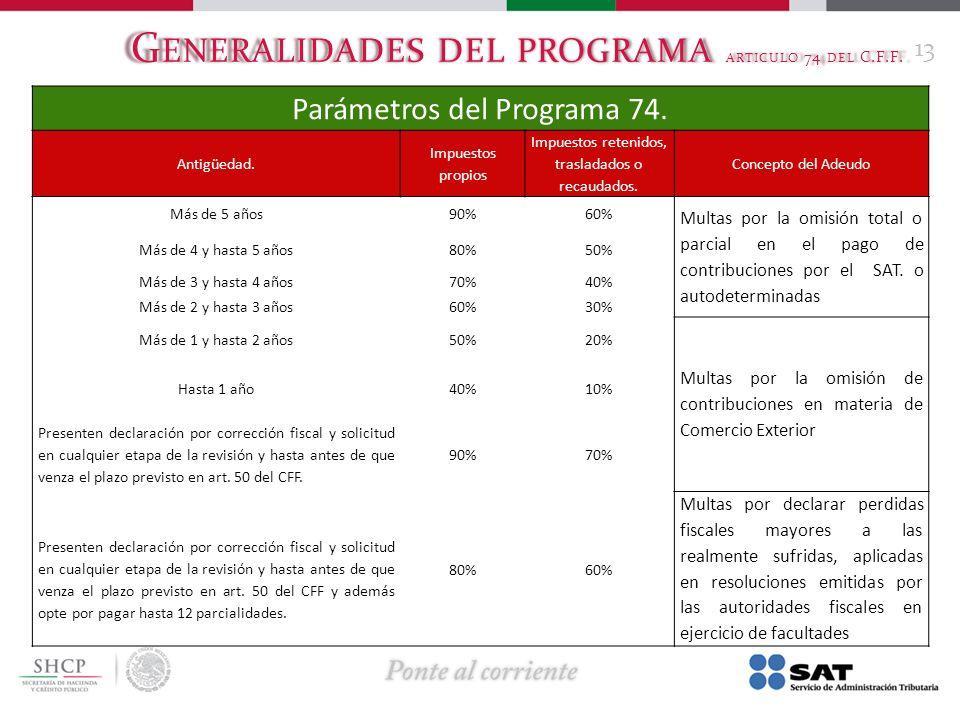 G ENERALIDADES DEL PROGRAMA ARTICULO 74 DEL C.F.F. 13 Parámetros del Programa 74. Antigüedad. Impuestos propios Impuestos retenidos, trasladados o rec