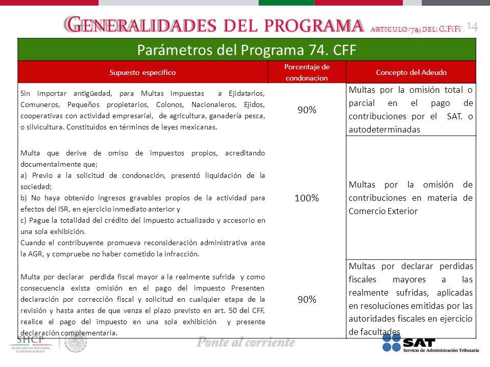 G ENERALIDADES DEL PROGRAMA ARTICULO 74 DEL C.F.F. 14 Parámetros del Programa 74. CFF Supuesto especifico Porcentaje de condonacion Concepto del Adeud