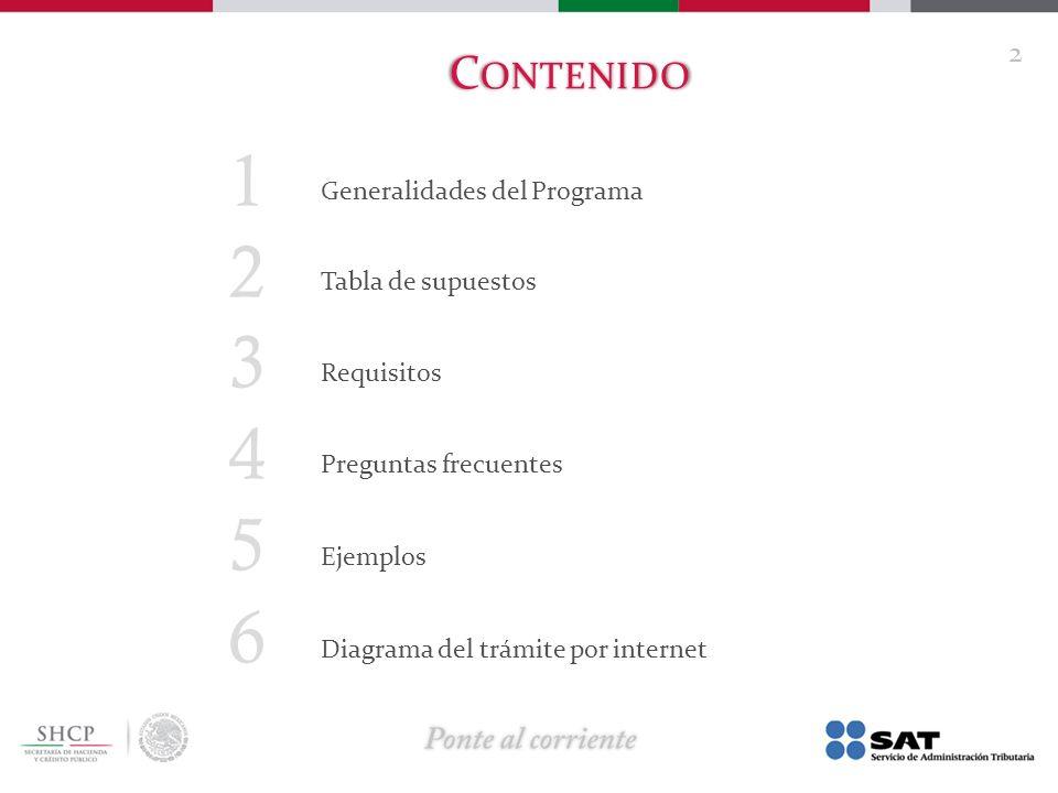 1 Generalidades del Programa 2 Tabla de supuestos 3 Requisitos 4 Preguntas frecuentes 5 Ejemplos 6 Diagrama del trámite por internet C ONTENIDO 2