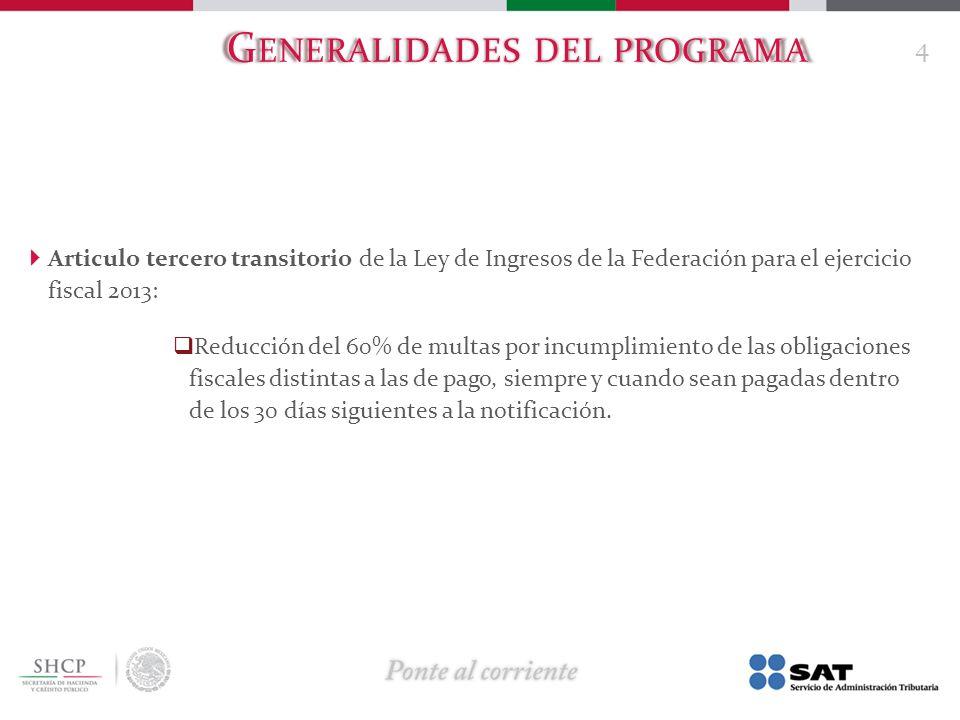 G ENERALIDADES DEL PROGRAMA Articulo tercero transitorio de la Ley de Ingresos de la Federación para el ejercicio fiscal 2013: Reducción del 60% de mu