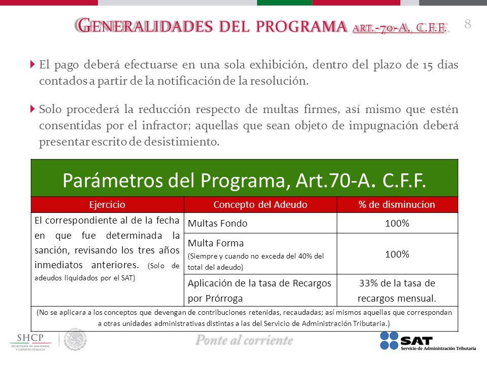 G ENERALIDADES DEL PROGRAMA ART.-70-A, C.F.F. El pago deberá efectuarse en una sola exhibición, dentro del plazo de 15 días contados a partir de la no