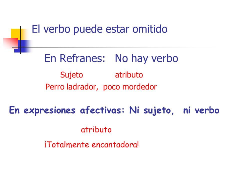 El verbo puede estar omitido En Refranes: No hay verbo Sujeto atributo Perro ladrador, poco mordedor En expresiones afectivas: Ni sujeto, ni verbo atr