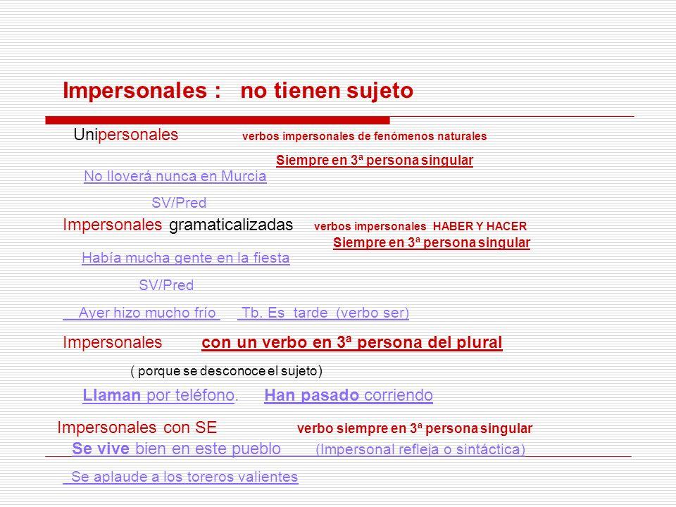 Impersonales : no tienen sujeto Unipersonales verbos impersonales de fenómenos naturales Siempre en 3ª persona singular No lloverá nunca en Murcia SV/