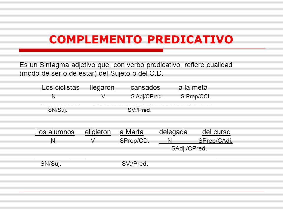 COMPLEMENTO PREDICATIVO Es un Sintagma adjetivo que, con verbo predicativo, refiere cualidad (modo de ser o de estar) del Sujeto o del C.D. Los ciclis
