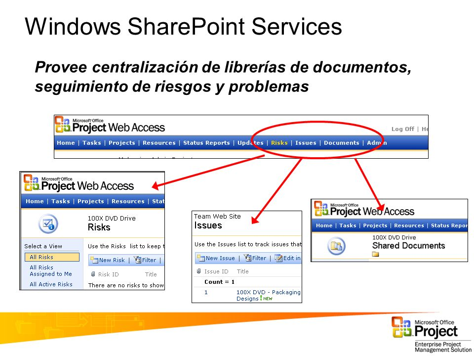 Windows SharePoint Services Provee centralización de librerías de documentos, seguimiento de riesgos y problemas