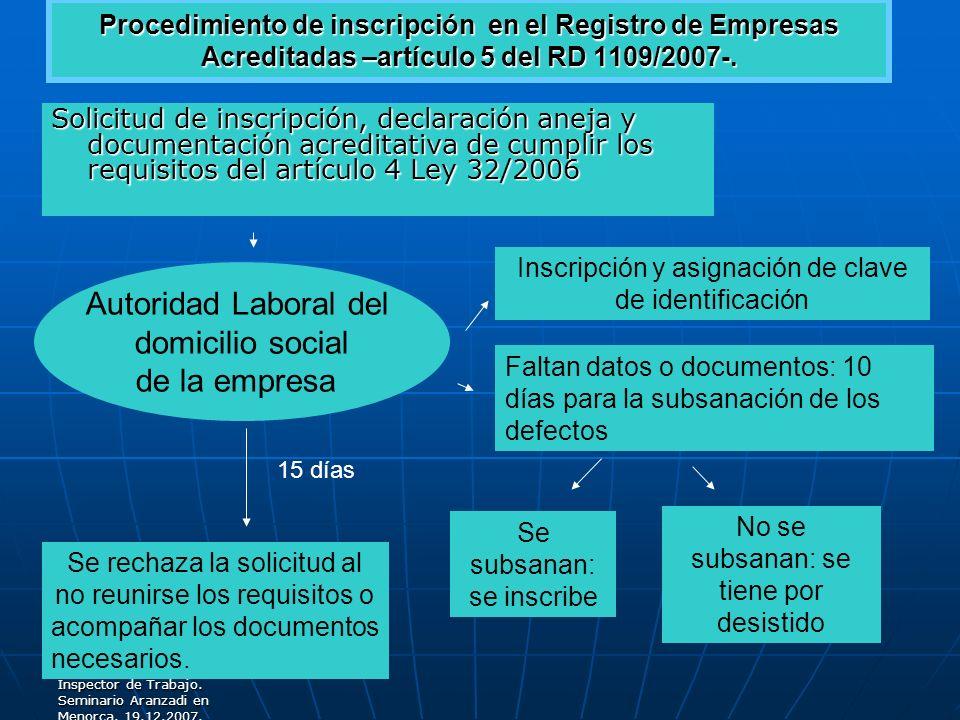 Carlos de la Torre Garcia. Inspector de Trabajo. Seminario Aranzadi en Menorca. 19.12.2007. Procedimiento de inscripción en el Registro de Empresas Ac