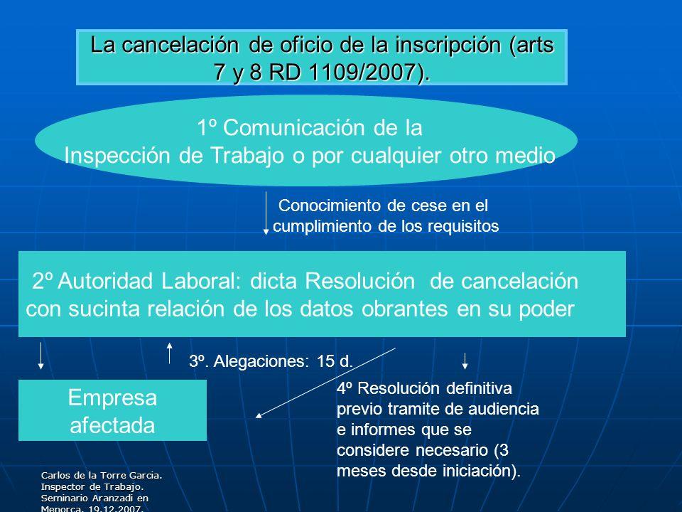 Carlos de la Torre Garcia. Inspector de Trabajo. Seminario Aranzadi en Menorca. 19.12.2007. La cancelación de oficio de la inscripción (arts 7 y 8 RD