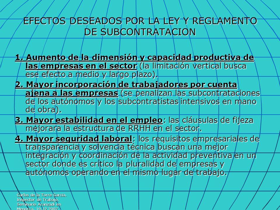 Carlos de la Torre Garcia. Inspector de Trabajo. Seminario Aranzadi en Menorca. 19.12.2007. EFECTOS DESEADOS POR LA LEY Y REGLAMENTO DE SUBCONTRATACIO