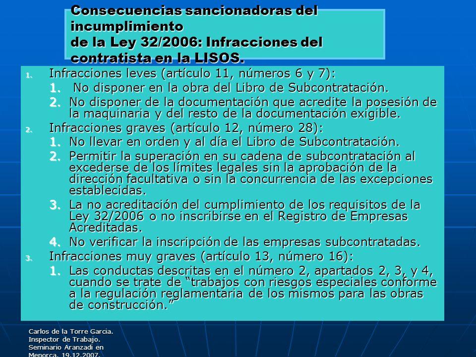 Carlos de la Torre Garcia. Inspector de Trabajo. Seminario Aranzadi en Menorca. 19.12.2007. 1. Infracciones leves (artículo 11, números 6 y 7): 1. No