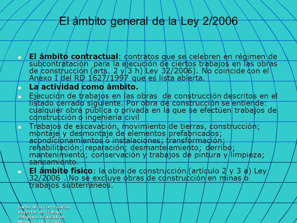 Carlos de la Torre Garcia. Inspector de Trabajo. Seminario Aranzadi en Menorca. 19.12.2007. El ámbito general de la Ley 2/2006 El ámbito contractual: