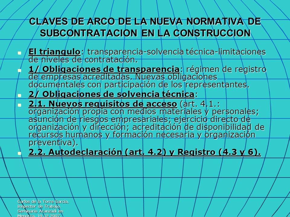Carlos de la Torre Garcia. Inspector de Trabajo. Seminario Aranzadi en Menorca. 19.12.2007. CLAVES DE ARCO DE LA NUEVA NORMATIVA DE SUBCONTRATACION EN