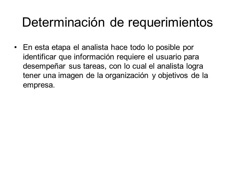 Determinación de requerimientos En esta etapa el analista hace todo lo posible por identificar que información requiere el usuario para desempeñar sus