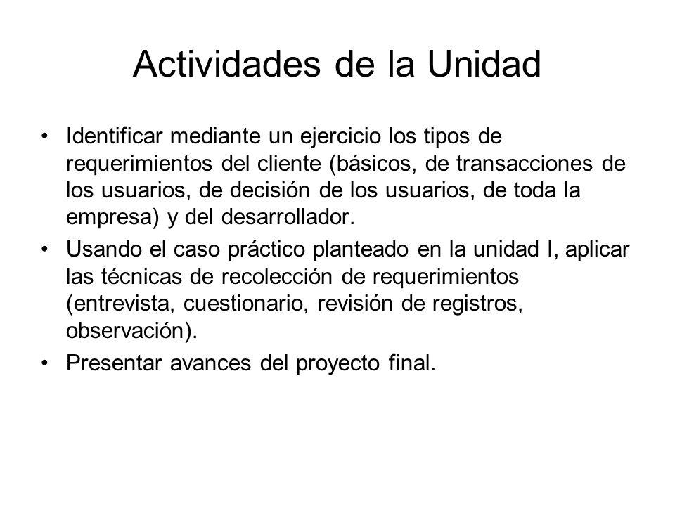 Actividades de la Unidad Identificar mediante un ejercicio los tipos de requerimientos del cliente (básicos, de transacciones de los usuarios, de deci