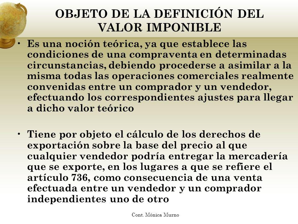 ELEMENTOS DE LA DEFINICIÓN Precio Momento Lugar Cantidad Nivel Comercial Condición de Independencia Condición de Contado Cont.