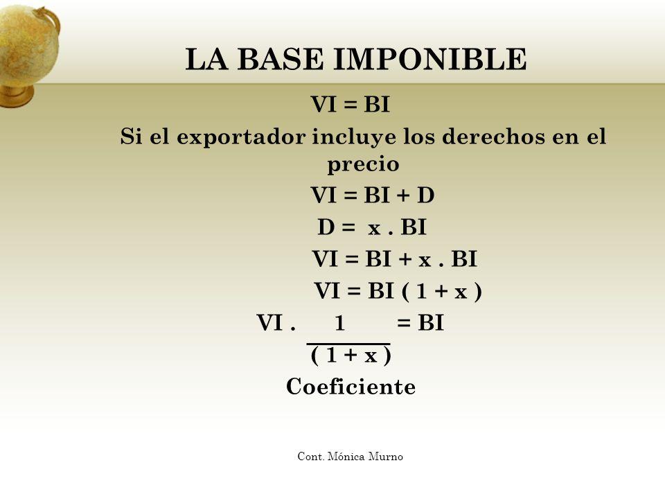 LA BASE IMPONIBLE VI = BI Si el exportador incluye los derechos en el precio VI = BI + D D = x. BI VI = BI + x. BI VI = BI ( 1 + x ) VI. 1 = BI ( 1 +