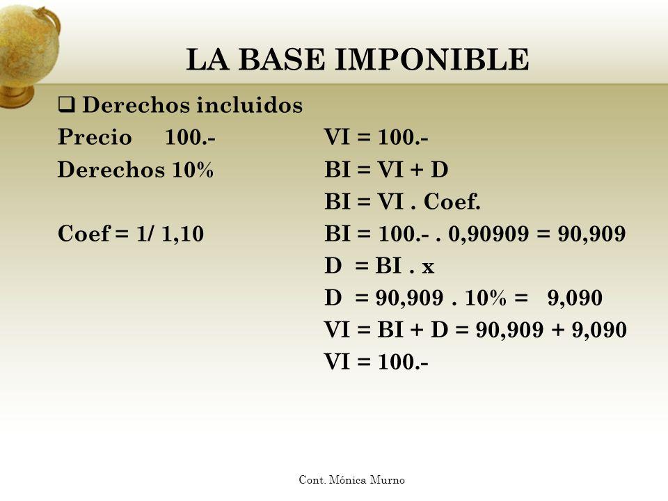 LA BASE IMPONIBLE Derechos incluidos Precio 100.-VI = 100.- Derechos 10%BI = VI + D BI = VI. Coef. Coef = 1/ 1,10BI = 100.-. 0,90909 = 90,909 D = BI.