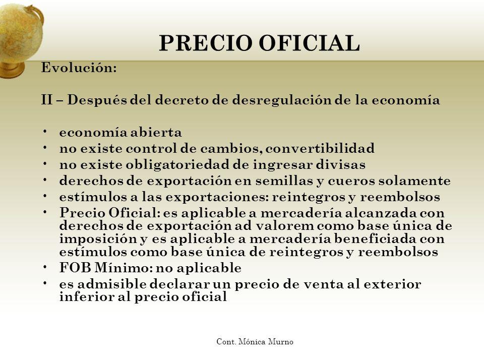 PRECIO OFICIAL Evolución: II – Después del decreto de desregulación de la economía economía abierta no existe control de cambios, convertibilidad no e