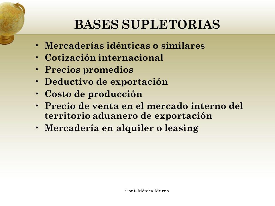 BASES SUPLETORIAS Mercaderías idénticas o similares Cotización internacional Precios promedios Deductivo de exportación Costo de producción Precio de