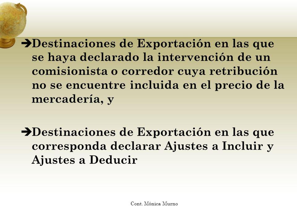 Destinaciones de Exportación en las que se haya declarado la intervención de un comisionista o corredor cuya retribución no se encuentre incluida en e