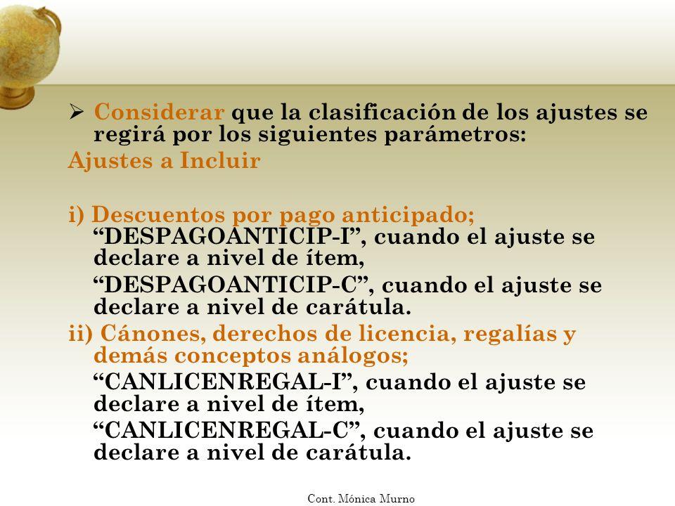 iii) Descuentos y bonificaciones NO admisibles; DESCBONIFNOAD-I, cuando el ajuste se declare a nivel de ítem, DESCBONIFNOAD-C, cuando el ajuste se declare a nivel de carátula.