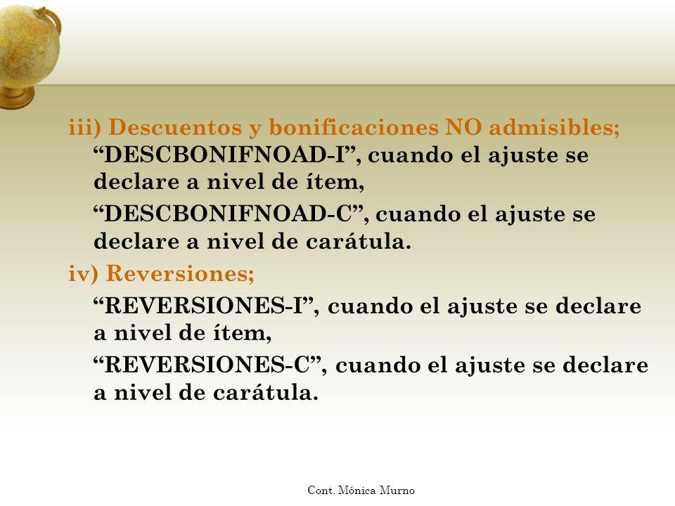 iii) Descuentos y bonificaciones NO admisibles; DESCBONIFNOAD-I, cuando el ajuste se declare a nivel de ítem, DESCBONIFNOAD-C, cuando el ajuste se dec