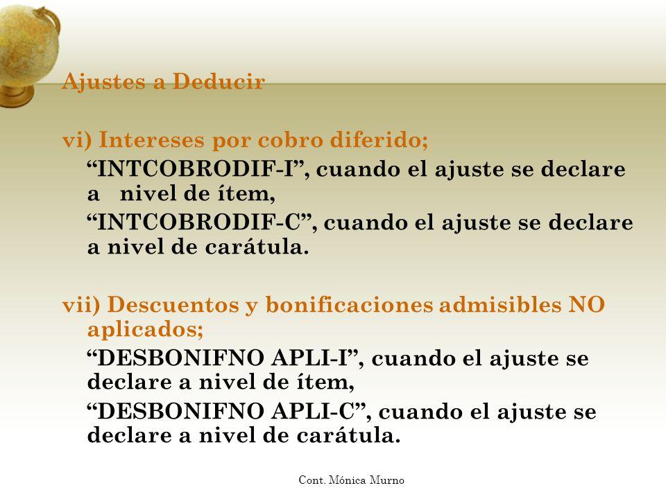 Ajustes a Deducir vi) Intereses por cobro diferido; INTCOBRODIF-I, cuando el ajuste se declare a nivel de ítem, INTCOBRODIF-C, cuando el ajuste se dec