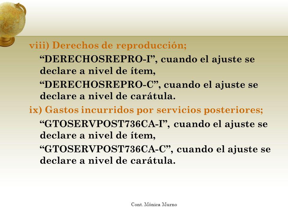 viii) Derechos de reproducción; DERECHOSREPRO-I, cuando el ajuste se declare a nivel de ítem, DERECHOSREPRO-C, cuando el ajuste se declare a nivel de