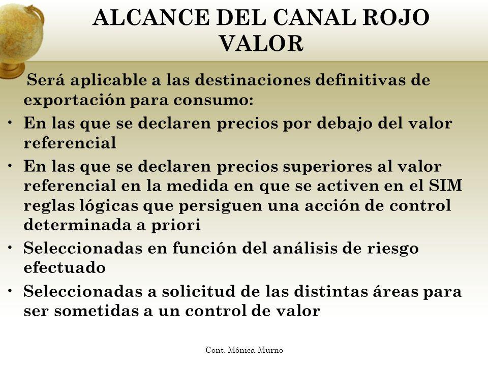 ALCANCE DEL CANAL ROJO VALOR Será aplicable a las destinaciones definitivas de exportación para consumo: En las que se declaren precios por debajo del