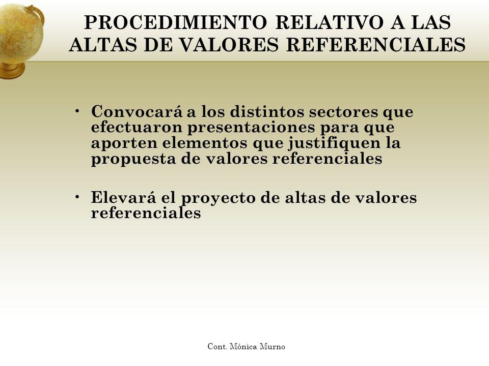 PROCEDIMIENTO RELATIVO A LAS ALTAS DE VALORES REFERENCIALES Convocará a los distintos sectores que efectuaron presentaciones para que aporten elemento