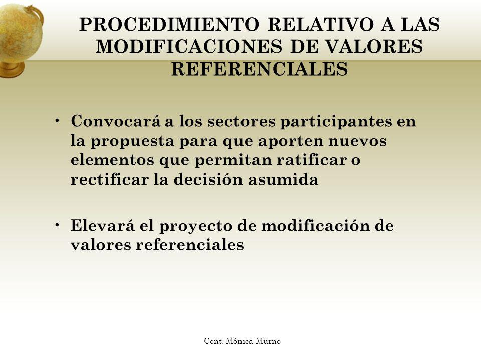 PROCEDIMIENTO RELATIVO A LAS MODIFICACIONES DE VALORES REFERENCIALES Convocará a los sectores participantes en la propuesta para que aporten nuevos el