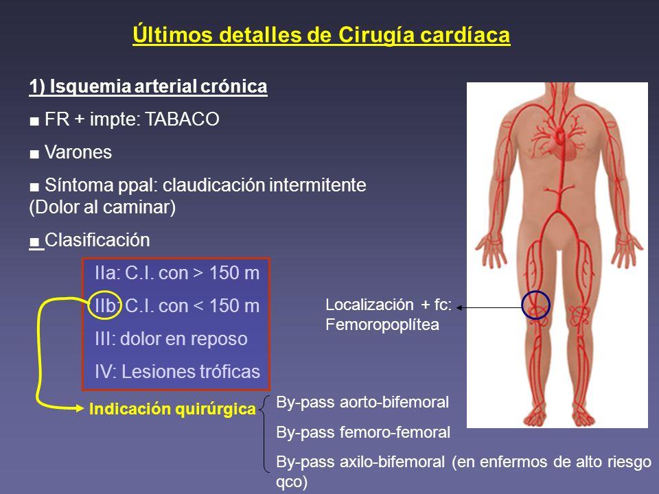 Últimos detalles de Cirugía cardíaca Localización + fc: Femoropoplítea 1) Isquemia arterial crónica FR + impte: TABACO Varones Síntoma ppal: claudicac
