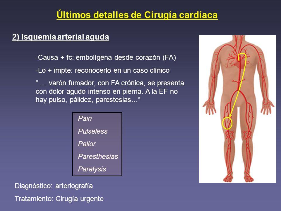 Últimos detalles de Cirugía cardíaca 2) Isquemia arterial aguda -Causa + fc: embolígena desde corazón (FA) -Lo + impte: reconocerlo en un caso clínico