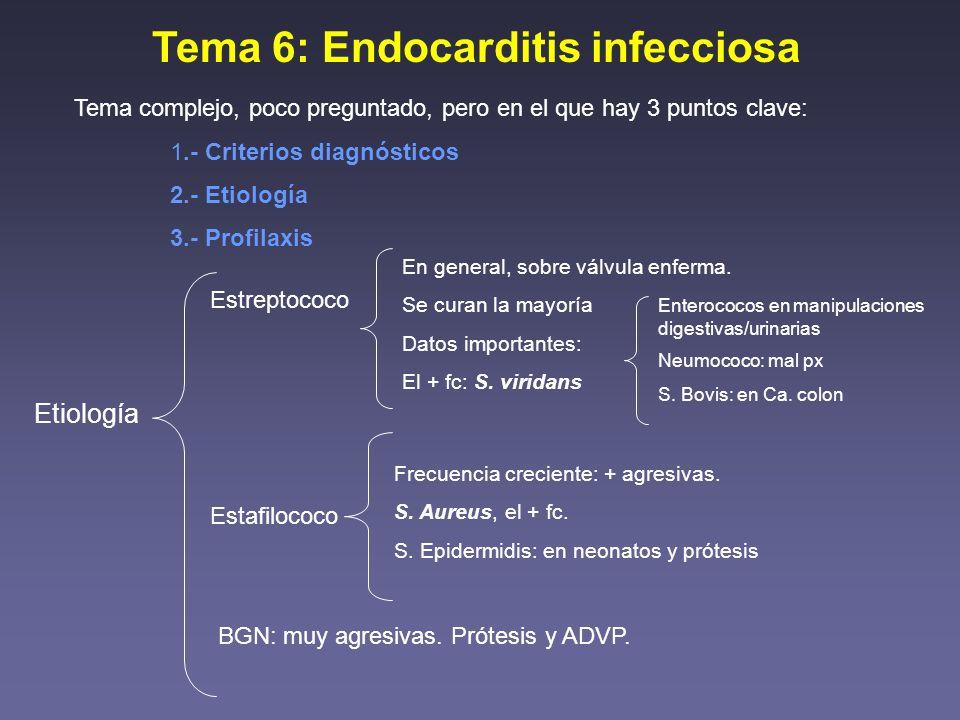 Tema 6: Endocarditis infecciosa Tema complejo, poco preguntado, pero en el que hay 3 puntos clave: 1.- Criterios diagnósticos 2.- Etiología 3.- Profil
