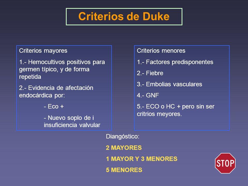 Criterios mayores 1.- Hemocultivos positivos para germen típico, y de forma repetida 2.- Evidencia de afectación endocárdica por: - Eco + - Nuevo sopl