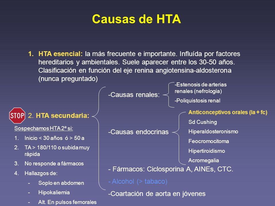 Causas de HTA 1.HTA esencial: la más frecuente e importante. Influída por factores hereditarios y ambientales. Suele aparecer entre los 30-50 años. Cl