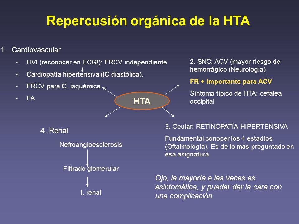Estudio de la HTA Dirigido a… 1.- Evaluar daño orgánico: - Analítica con función renal - Ecocardiograma y ECG - Fondo de ojo - TC craneal si síntomas de ACV - Rx de tórax 2.- Diagnosticar causa secundaria - Analítica con iones y función renal - Rx de tórax (Coartación de aorta) - Hormonas (cortisol, aldosterona, ARP…)