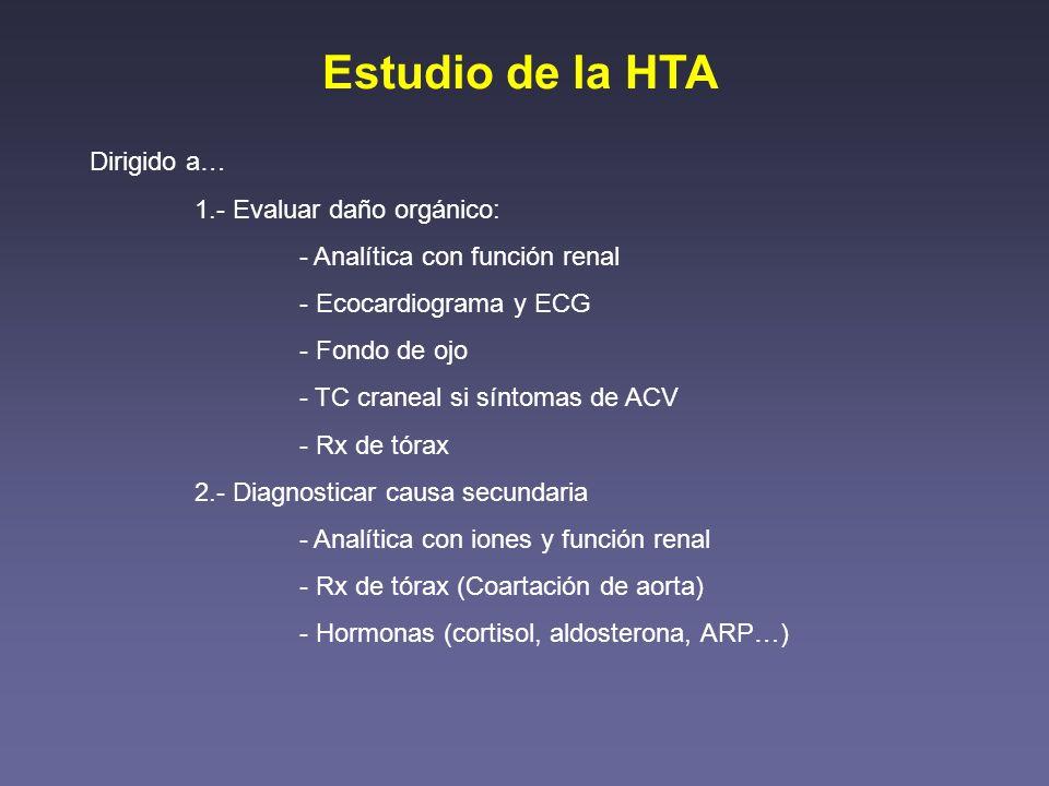 Estudio de la HTA Dirigido a… 1.- Evaluar daño orgánico: - Analítica con función renal - Ecocardiograma y ECG - Fondo de ojo - TC craneal si síntomas
