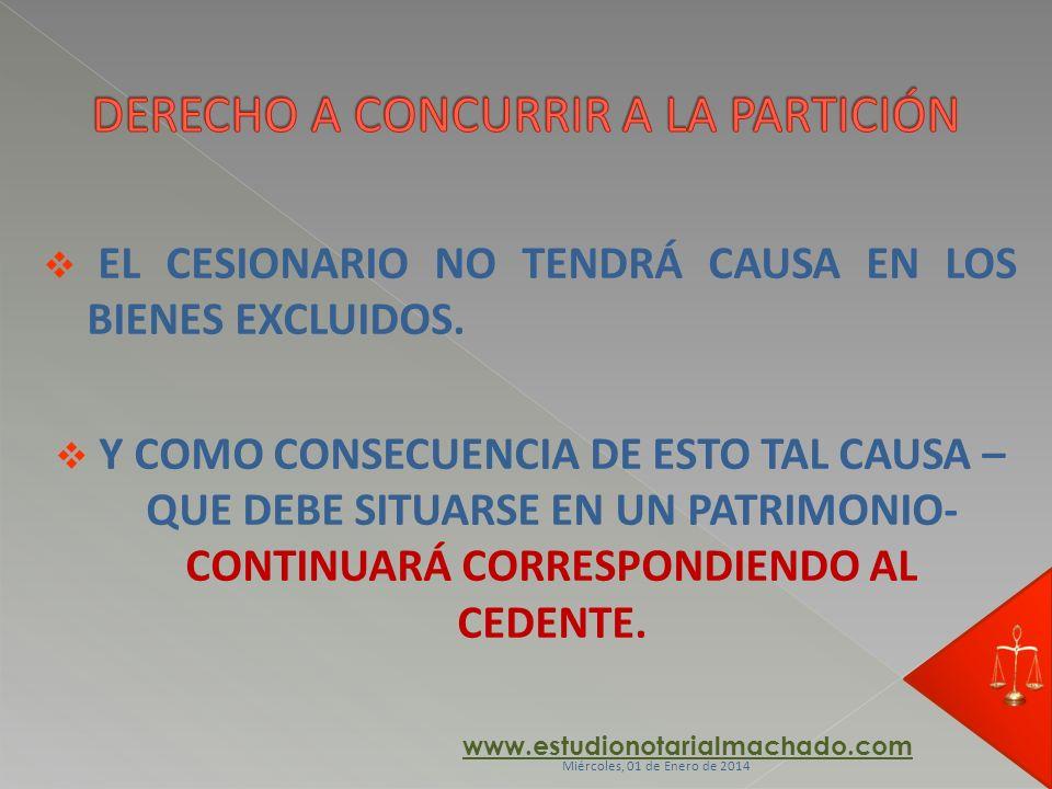 EL CESIONARIO NO TENDRÁ CAUSA EN LOS BIENES EXCLUIDOS. Y COMO CONSECUENCIA DE ESTO TAL CAUSA – QUE DEBE SITUARSE EN UN PATRIMONIO- CONTINUARÁ CORRESPO