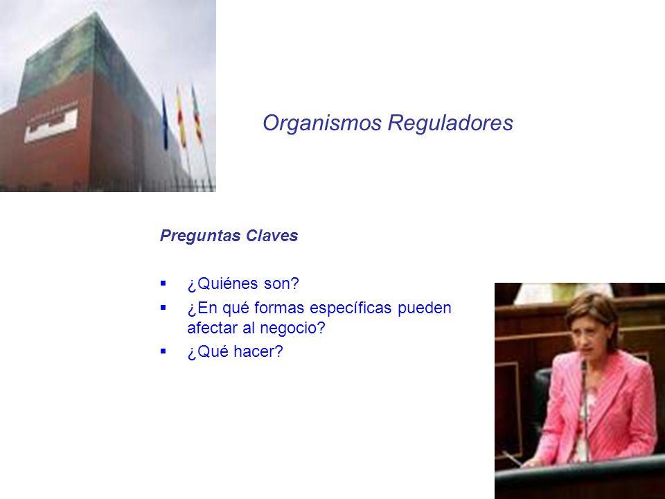 Preguntas Claves ¿Quiénes son? ¿En qué formas específicas pueden afectar al negocio? ¿Qué hacer? Organismos Reguladores