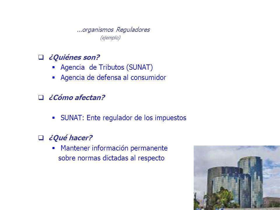 ¿Quiénes son? Agencia de Tributos (SUNAT) Agencia de defensa al consumidor ¿Cómo afectan? SUNAT: Ente regulador de los impuestos ¿Qué hacer? Mantener